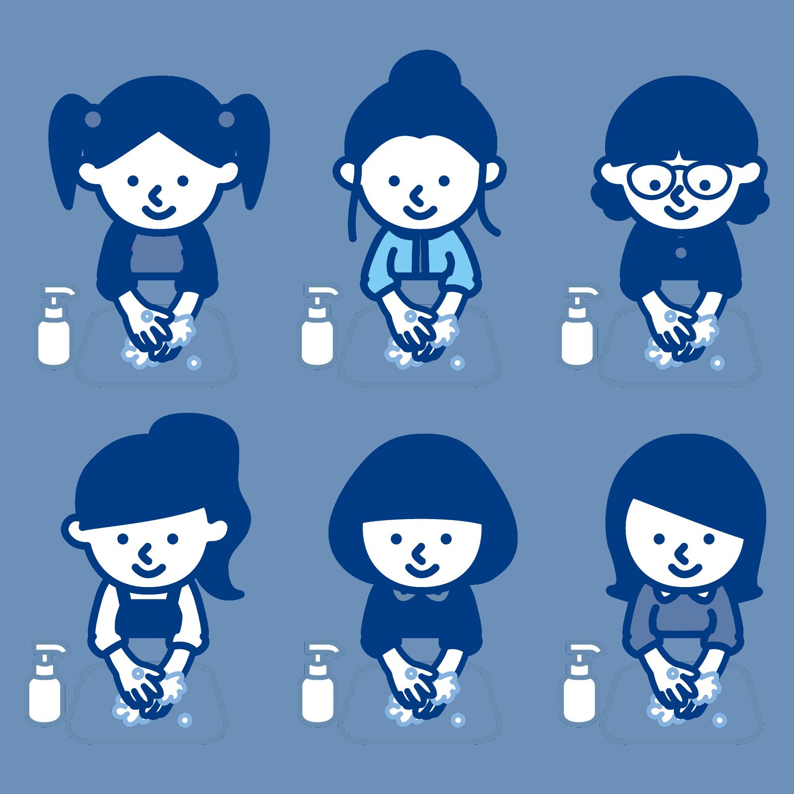 手洗いする子供たちのイラスト